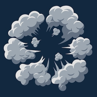 Rookwolk explosie. stof bladerdeeg cartoon frame vector