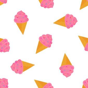 Roomijs in een wafelkegel met suikergoed. zomer naadloze patroon.