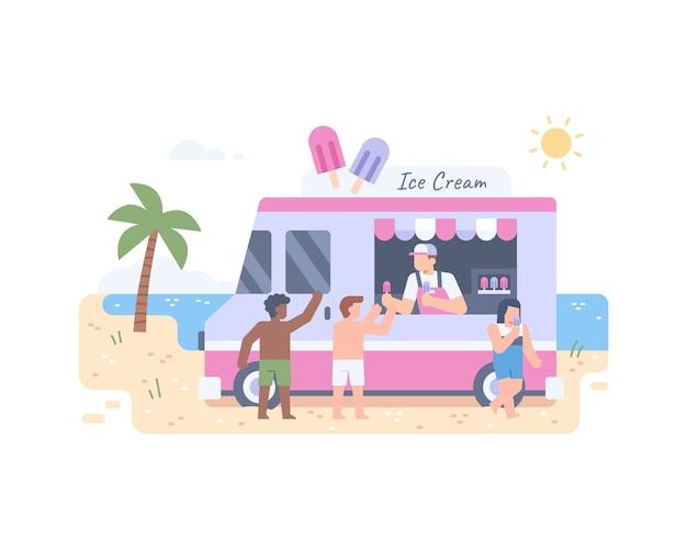 Roomijsvrachtwagen bij strand