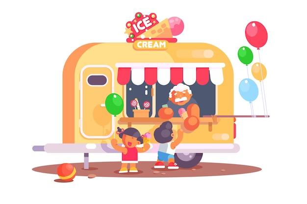 Roomijswagen met kleurrijke luchtballons.