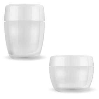 Roompotje. cosmetische glazen fles face beauty transparant pakket voor make-upproduct met glanzend plastic deksel transparante container voor lichaamshuidcrème