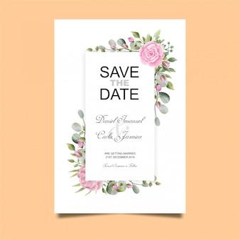 Roos bruiloft uitnodigingskaart in aquarel stijl