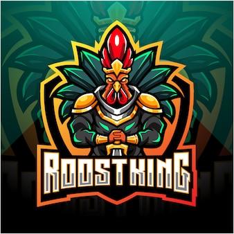 Rooster king esport mascotte logo ontwerp