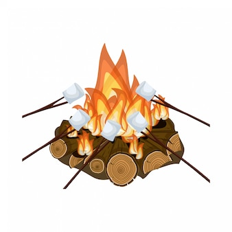 Roosteren marshmallow op kampvuur