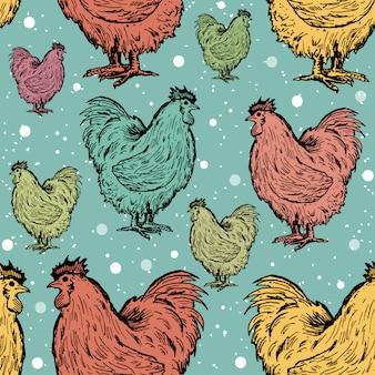 Roosters naadloos patroon