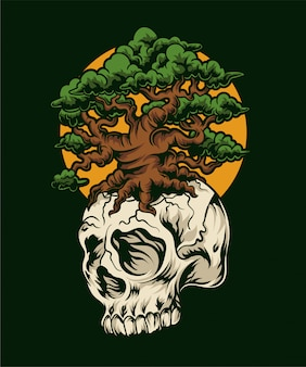 Root skull illustratie