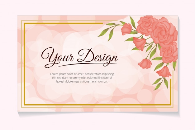 Rose bloem frame romantisch decoratie ontwerp