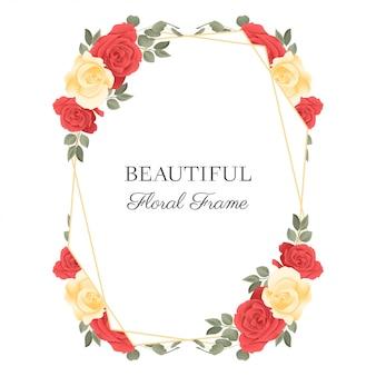 Rose bloem frame rustieke stijl met geometrische gouden lijn
