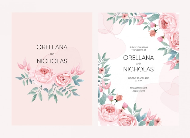 Rose bloem illustratie voor bruiloft kaart