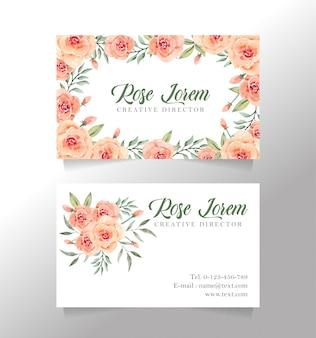 Rose bloem naamkaart
