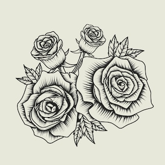 Rose bloem zwart en wit