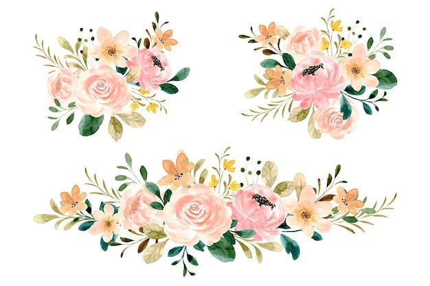 Rose bloemboeket collectie met waterverf