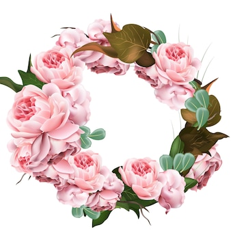 Rose bloemen krans sjabloon vector. realistische 3d decor illustratie
