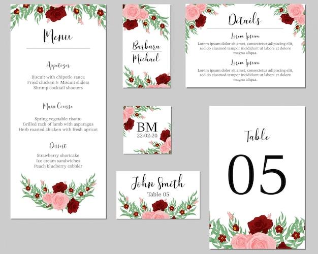 Rose boeket bruiloft stationaire sjabloon