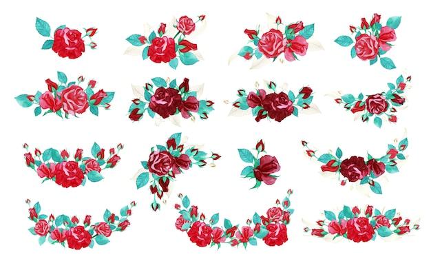 Rose boeket bundel in aquarel stijl voor bruiloft uitnodiging of wenskaart.
