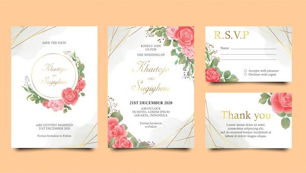 Rose bruiloft uitnodiging sjabloon met aquarel achtergrond en gouden frame