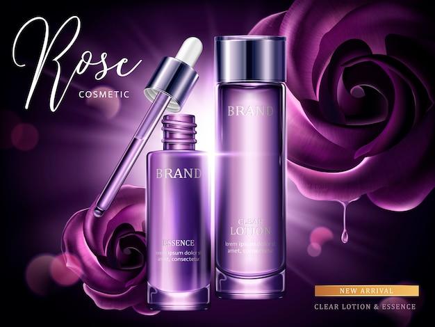 Rose cosmetische advertenties, druppel en glazen fles in paars met burst-licht in illustratie, paarse rozen