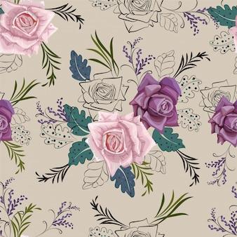 Rose en grafisch bloemen naadloos patroon