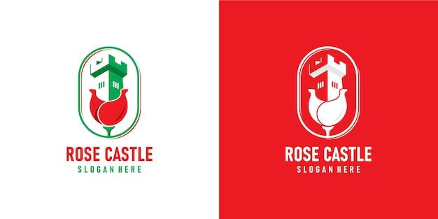 Rose en kasteel combinatie logo-ontwerp