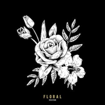 Rose flora sieraad tekening vector