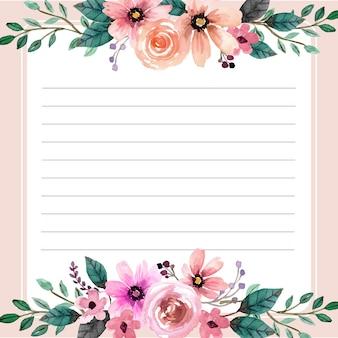 Rose floral aquarel plaknotities