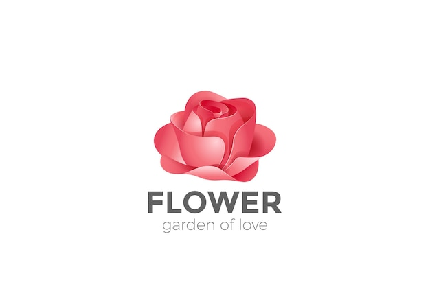 Rose flower garden logo pictogram.