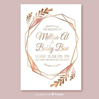 Rose gold geometrische bruiloft uitnodiging sjabloon