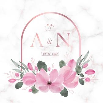 Rose goud afgerond rechthoek frame met bloemen op marmer voor bruiloft monogram logo en uitnodigingskaart
