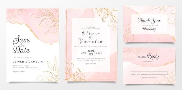 Rose goud aquarel bruiloft uitnodiging kaartsjabloon ingesteld met gouden bloemendecoratie