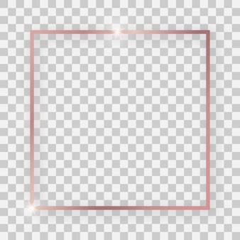 Rose goud glanzend vierkant frame met gloeiende effecten en schaduwen op transparante achtergrond. vector illustratie