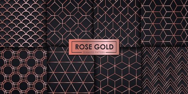 Rose goud luxe geometrische naadloze patroon ingesteld