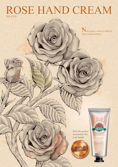 Rose handcrème-advertenties, exquise handcrème-product en gouden label in illustratie met rozen in ets-arceringstijl