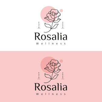 Rose lijntekeningen wellness-logo ontwerp