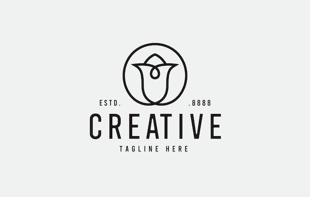 Rose logo-ontwerp vectorillustratie van abstracte lijn roze bloem