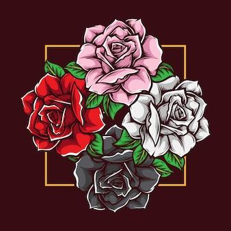 Rose met verschillende kleuren