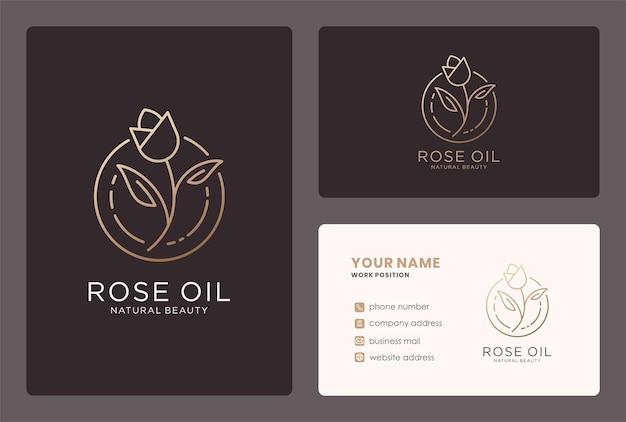 Rose olie logo-ontwerp in een lijn kunststijl.