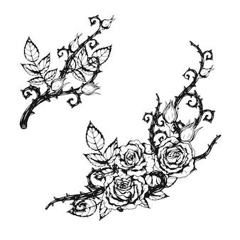 Rose ornament tattoo met de hand tekenen