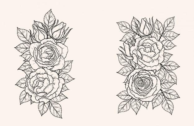 Rose ornament vector met de hand tekenen