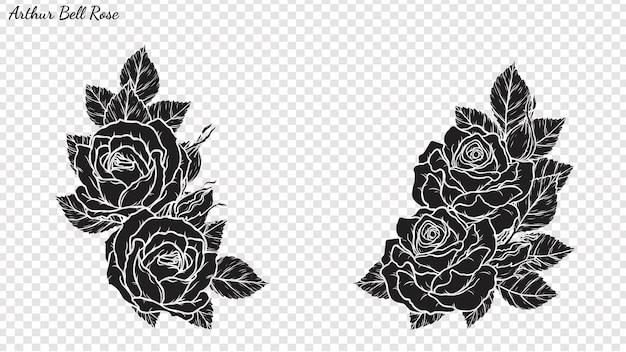 Rose ornament vector met de hand tekenen.