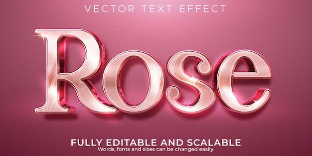 Rose roze teksteffect, bewerkbare glanzende en elegante tekststijl