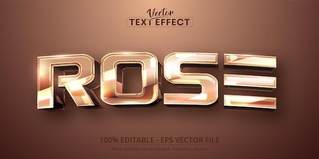 Rose-tekst, glanzend rose goudkleurig bewerkbaar teksteffect