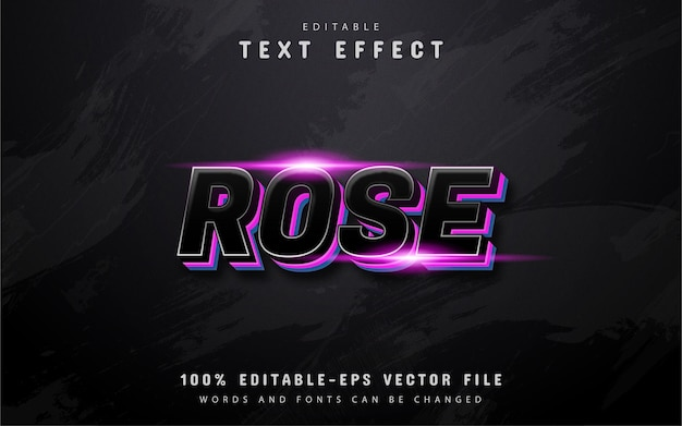 Rose-tekst, teksteffect in 3d-stijl