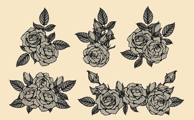 Rose vector kant met de hand tekenen