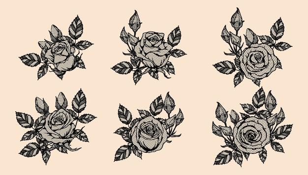 Rose vector kant met de hand tekenen.