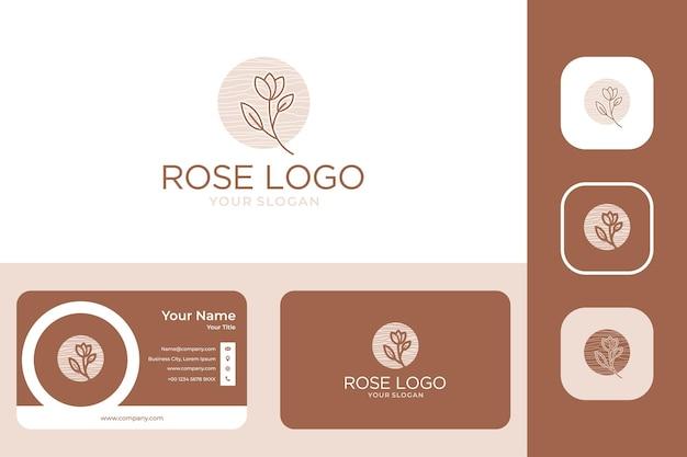 Rose vrouwelijk logo-ontwerp en visitekaartje