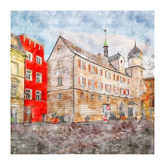 Rosenheim duitsland aquarel schets hand getrokken illustratie