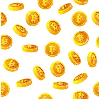 Rotatie bitcoin munten naadloos patroon. digitale internet valuta, achtergrond