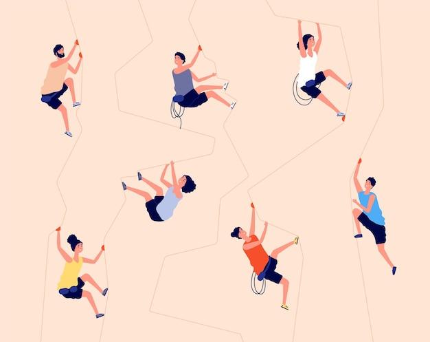 Rots klimmen. indoor klimmuur, extreme recreatie in de sportschool.