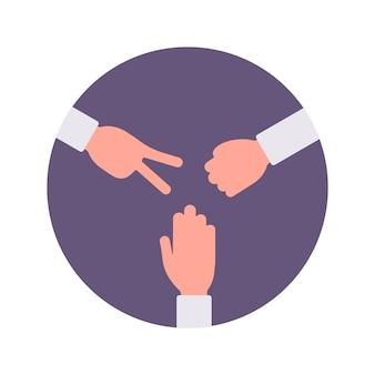 Rots, papier, schaar handsign in een paarse cirkel