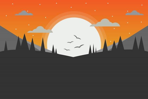 Rotsachtige bergen en dennenbos in de avond
